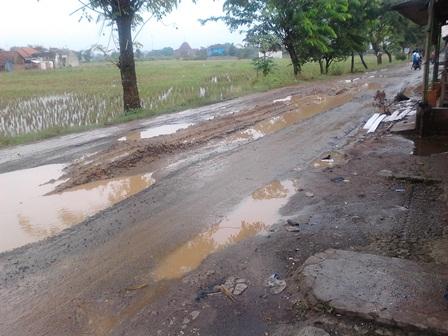 Jalan Rusak Parah di Jln.Pasundan Desa Adiarsa Barat Kec Karawang Timur (Foto : Tomi)